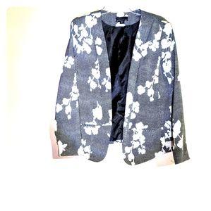 Black & White Abstract Floral Blazer